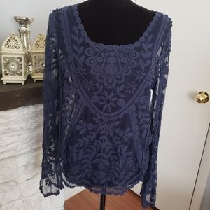 Navy blue long sleeve lace top. Size XL